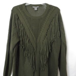 Kate & Mallory Fringed Olive Green Sweater
